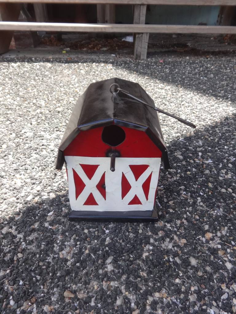Tin Red Barn Birdhouse 8x10x7