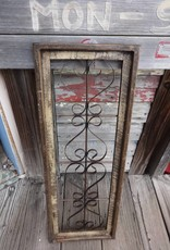 Large Beige Wood and Iron Rectangle Window Panel