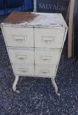6 Drawer Metal Side Table w/ Casters