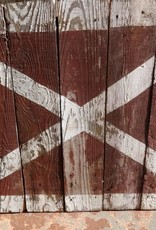 Small Half Barn Door Red White X