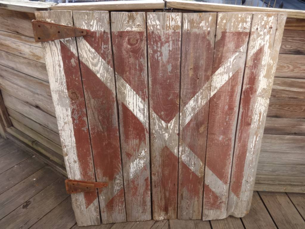 Md Half Barn Door Red White X Sarasota Architectural Salvage 1093
