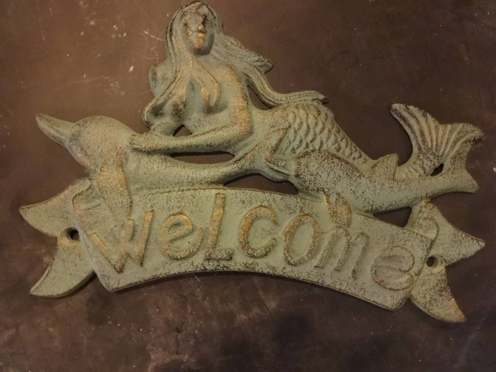 welcome sign mermaid iron