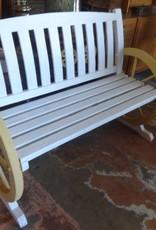 White and Yellow Wagon Wheel Bench