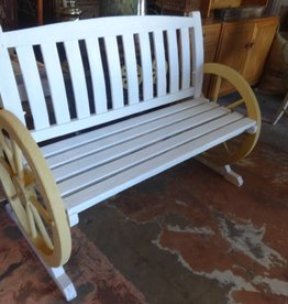 White and Yellow Wagon Wheel Bench