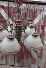Vintage 5 Light Brass Chandelier w/ Glass Globes