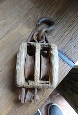Small Wooden Vintage Pulley