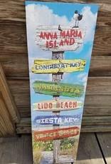 Beach Sign w/ Surfboard