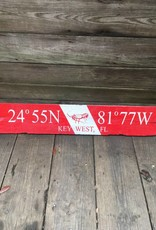 Red and White Key West Sign 32x6