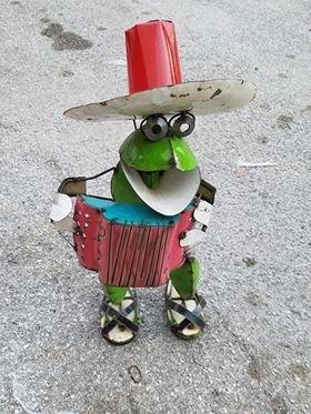 Large Tin Mariachi Frog