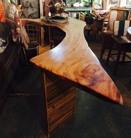 Camphor Live Edge Slab w/ Cypress Panel Bar
