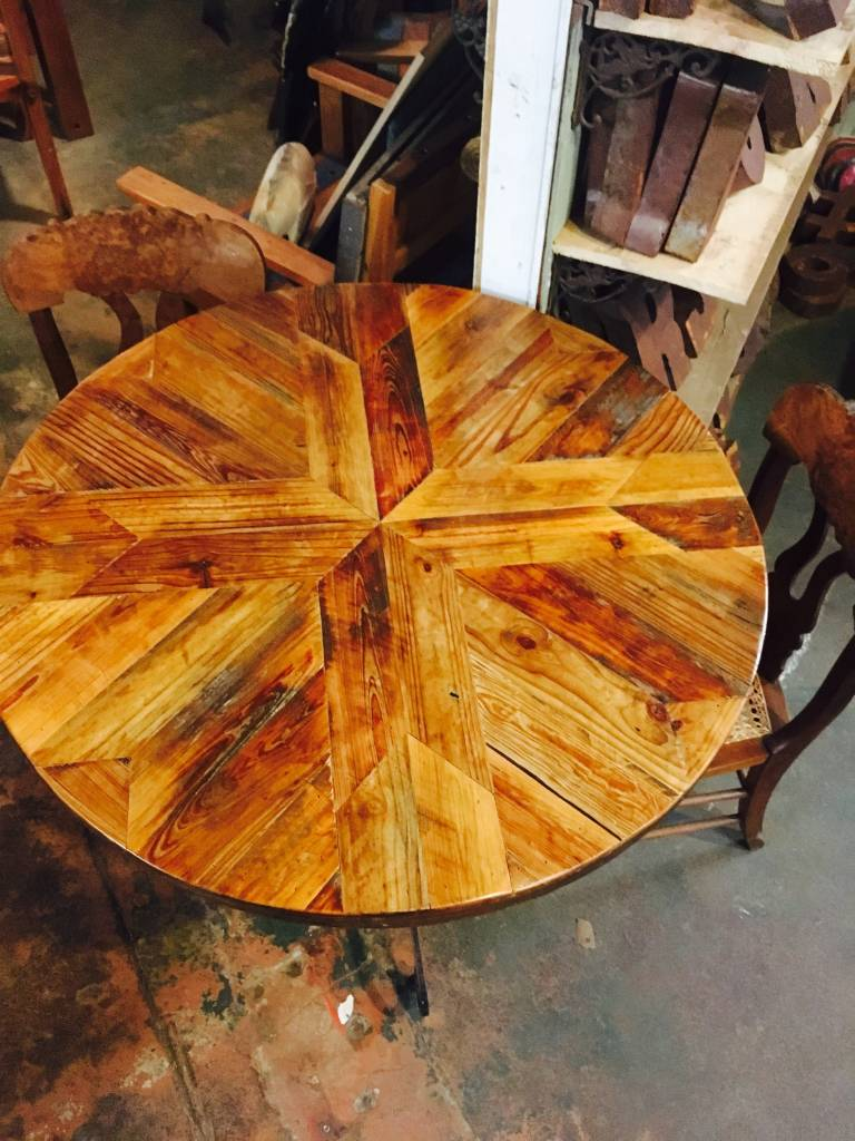 Chevron Pattern Spool Table w/ Iron Base