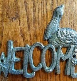 Welcome Pelican Iron Plaque