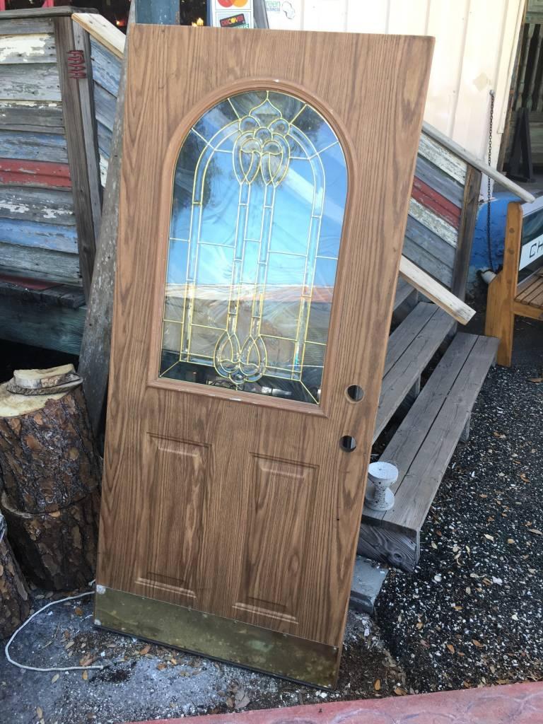 34.5x78.5 Leaded Arch Glass Door