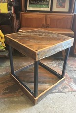 Salvaged Cypress Angled Panel Side Table 19x19x21