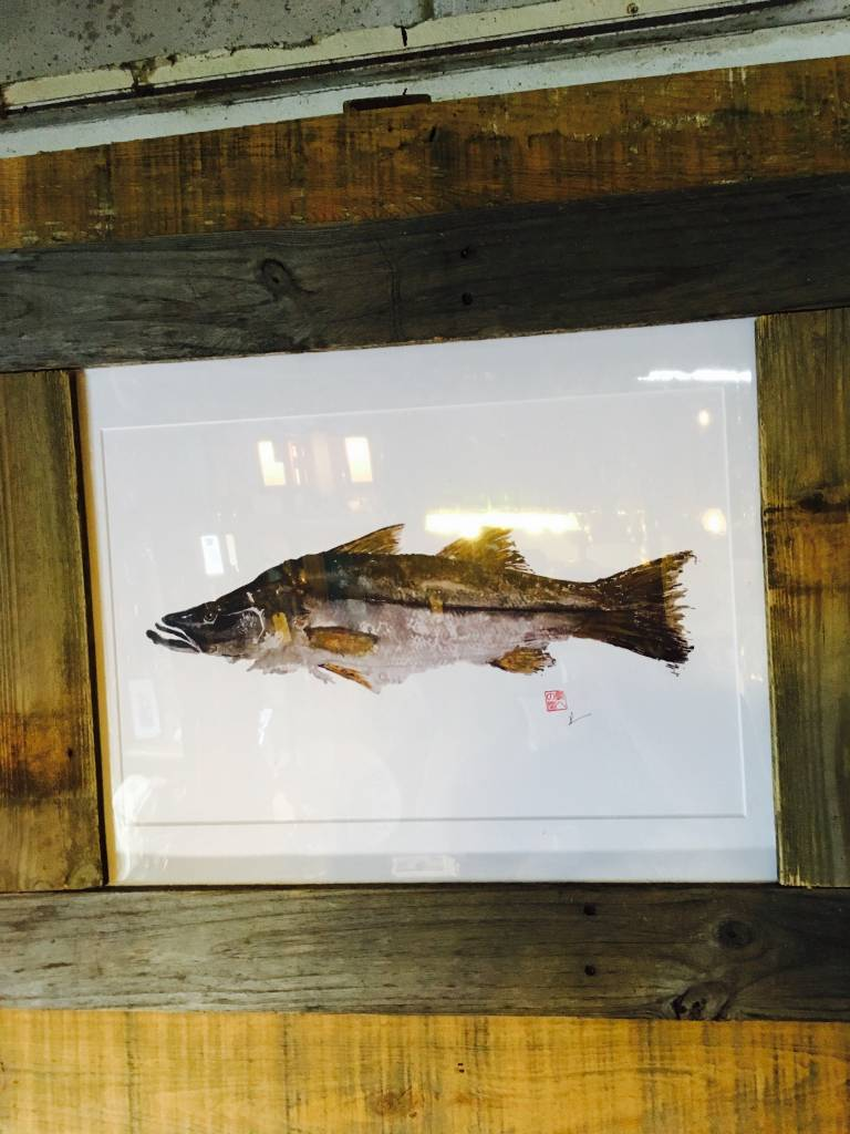 Reclaimed Wood Frame Tarpon Painting
