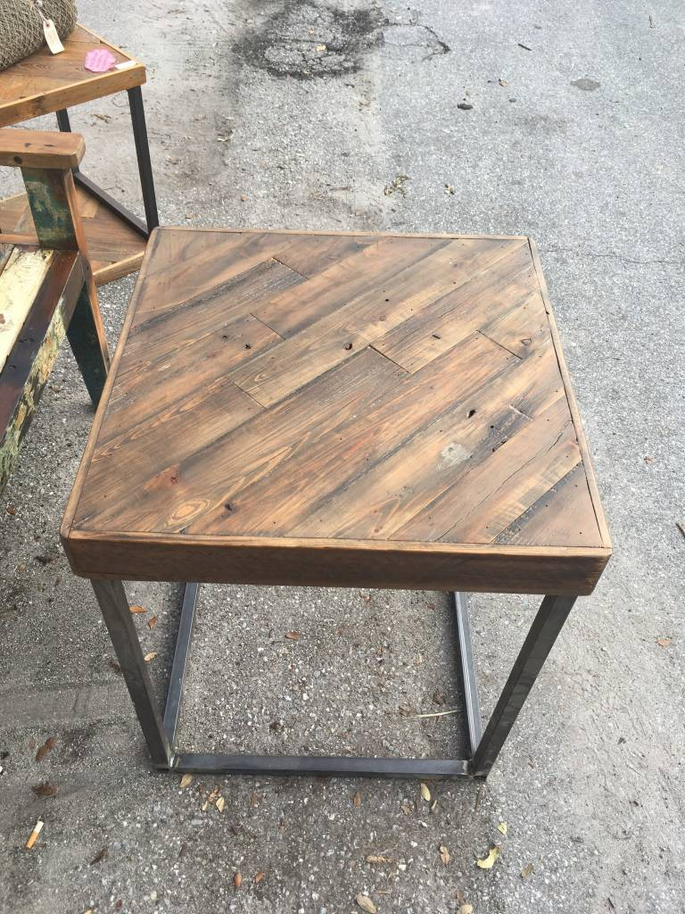 Salvaged Cypress Angled Side Table 23x23x27