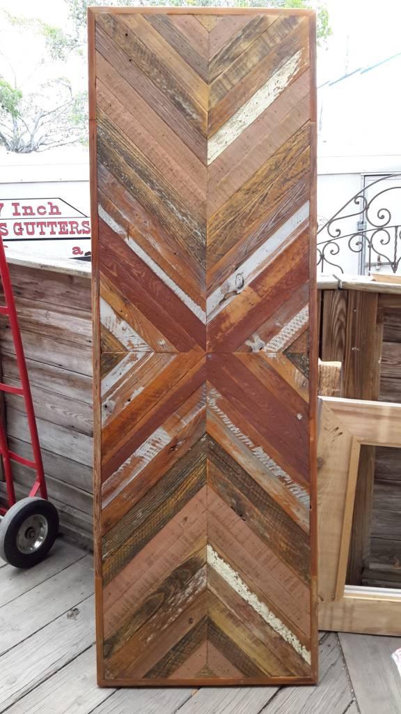 Salvaged Cypress Chevron Panel 24.5x73.5