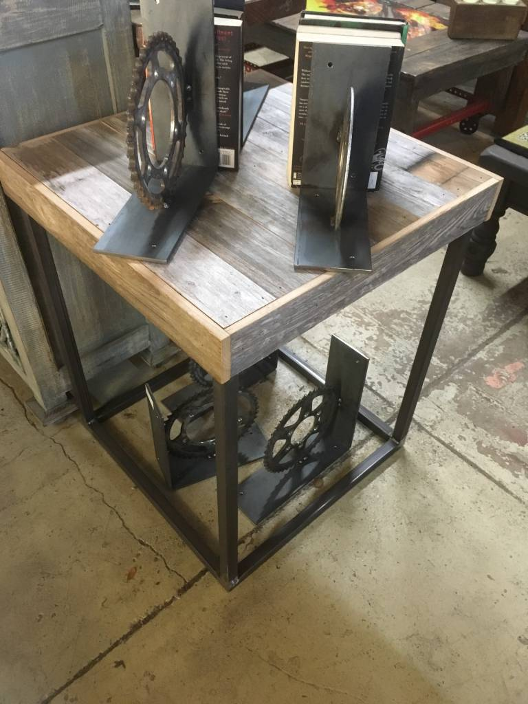 Salvaged Cypress Straight Panel Side Table 23x23x28