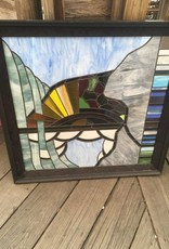 Circa 1980 Stained Glass Panel 32x31
