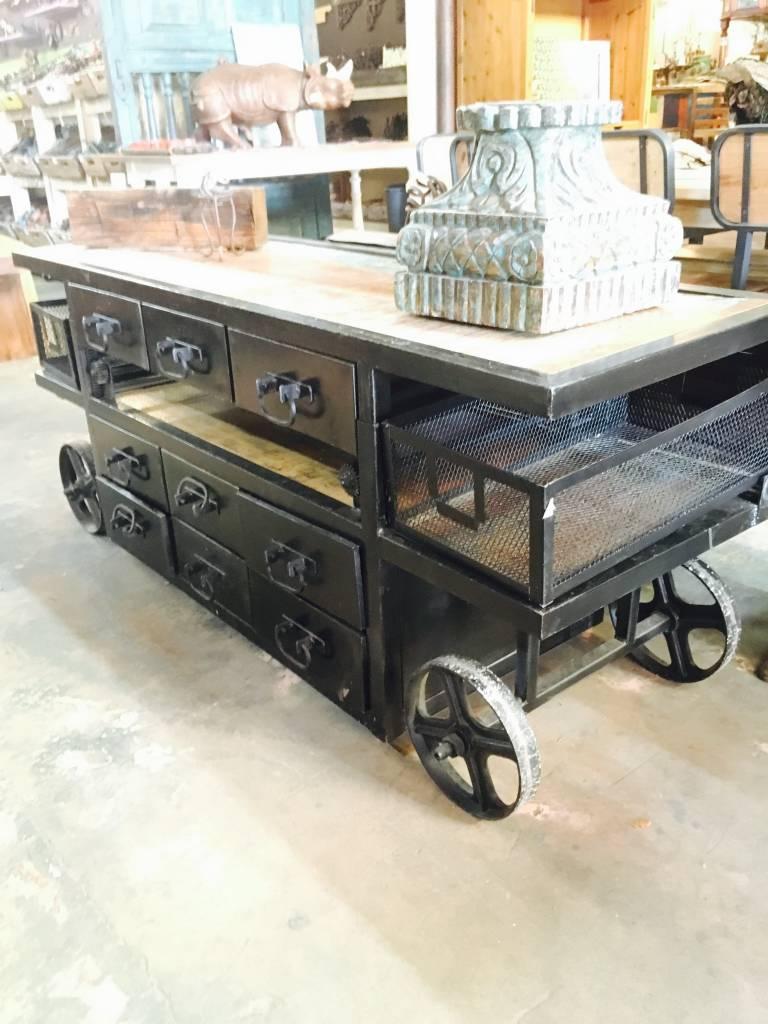 9 Drawer Industrial Adjustable Cart