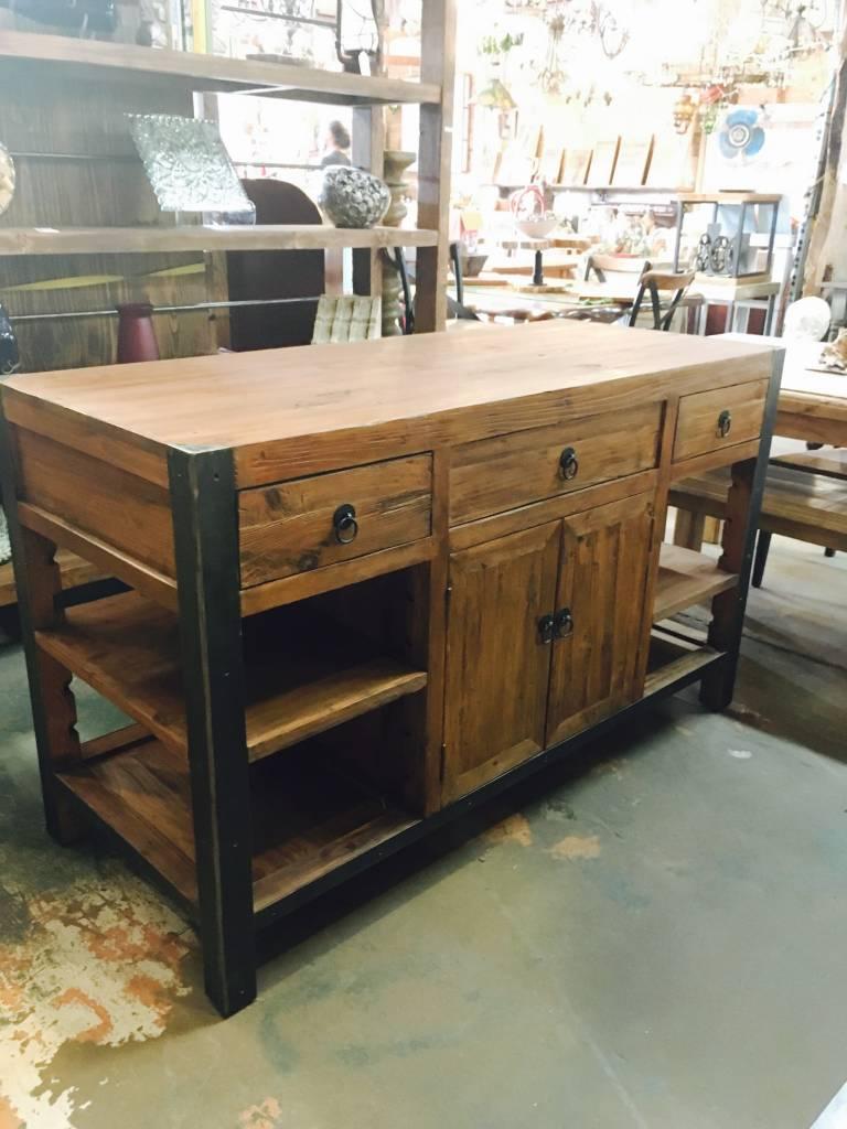6 Drawer 4 Door Iron and Pine Kitchen Island