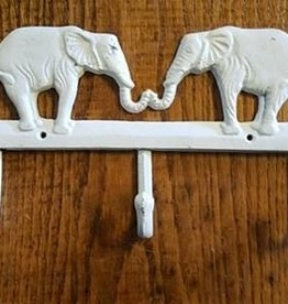 Antique White Elephant Triple Hook