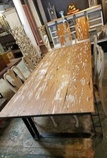 Pecky Cypress/Custom Iron Base Dining Table