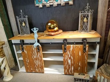 Pecky Cypress Roller Console