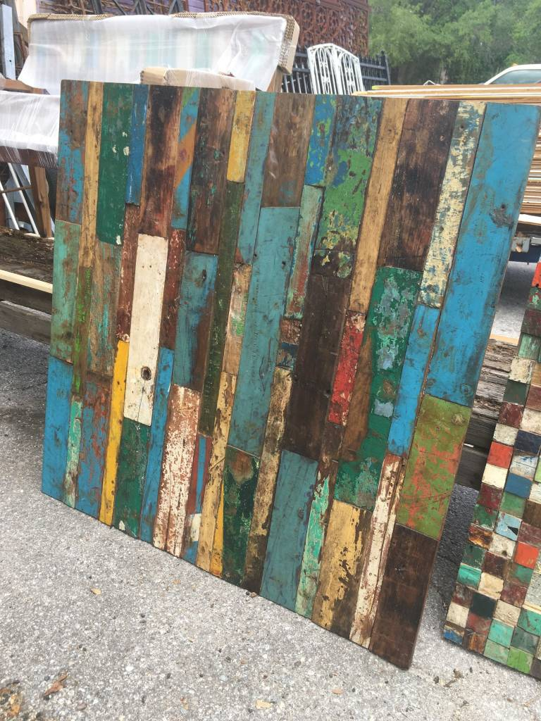 Teak Patchwork Art Panel 47x47