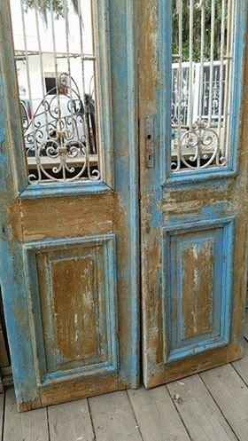 Blue Egytian Door Set W/ Iron