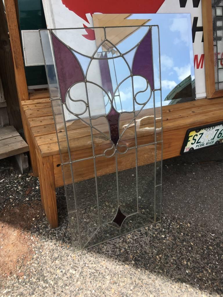 Unframed Heart Leaded Glass w/ Purple
