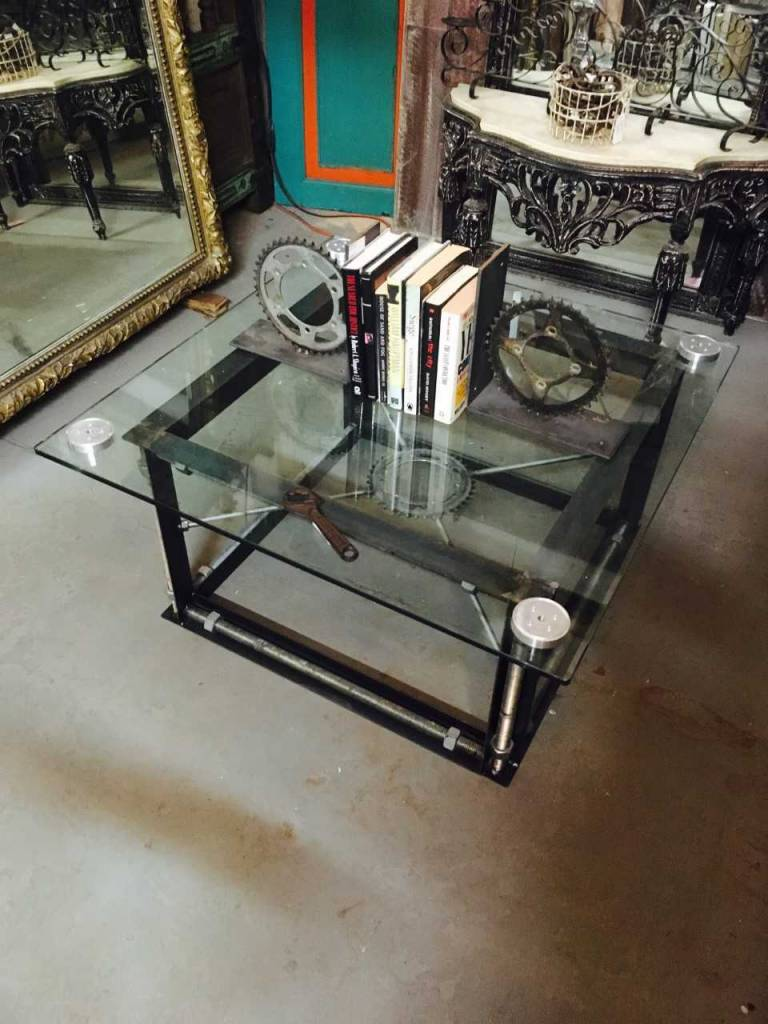 Industrial gear coffee table sarasota architectural salvage for Architectural salvage coffee table