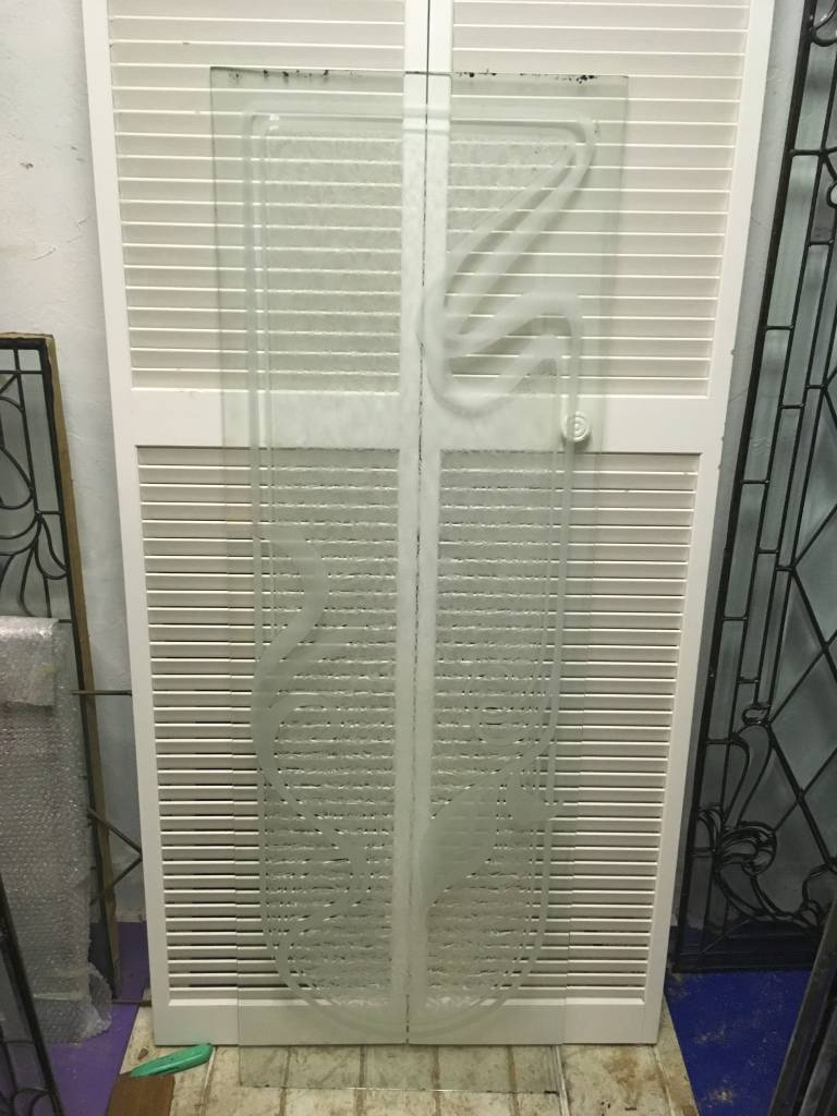 Frosted and Etched Window Panel J 22x64