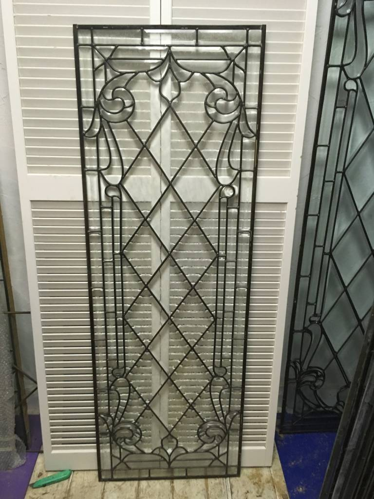 Leaded Glass Window Panel L 22x64 Sarasota Architectural