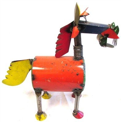 "Small Tin Crazy Horse 17"" H x 16.5"" L"