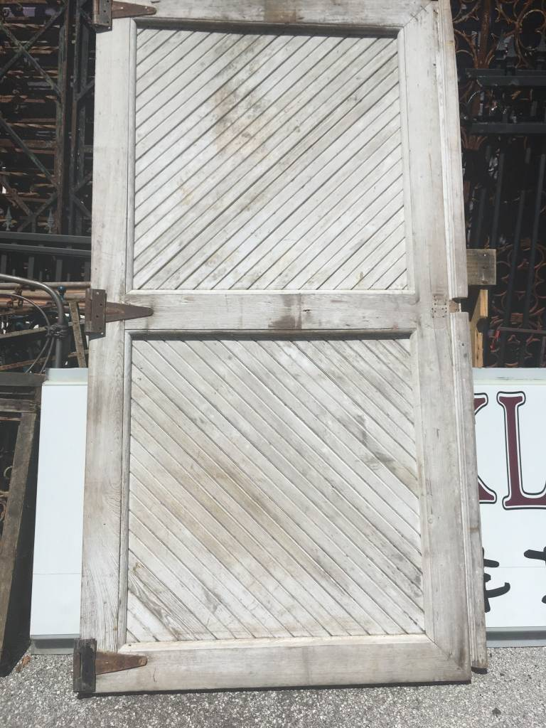 46x90 White Slat Barn Door