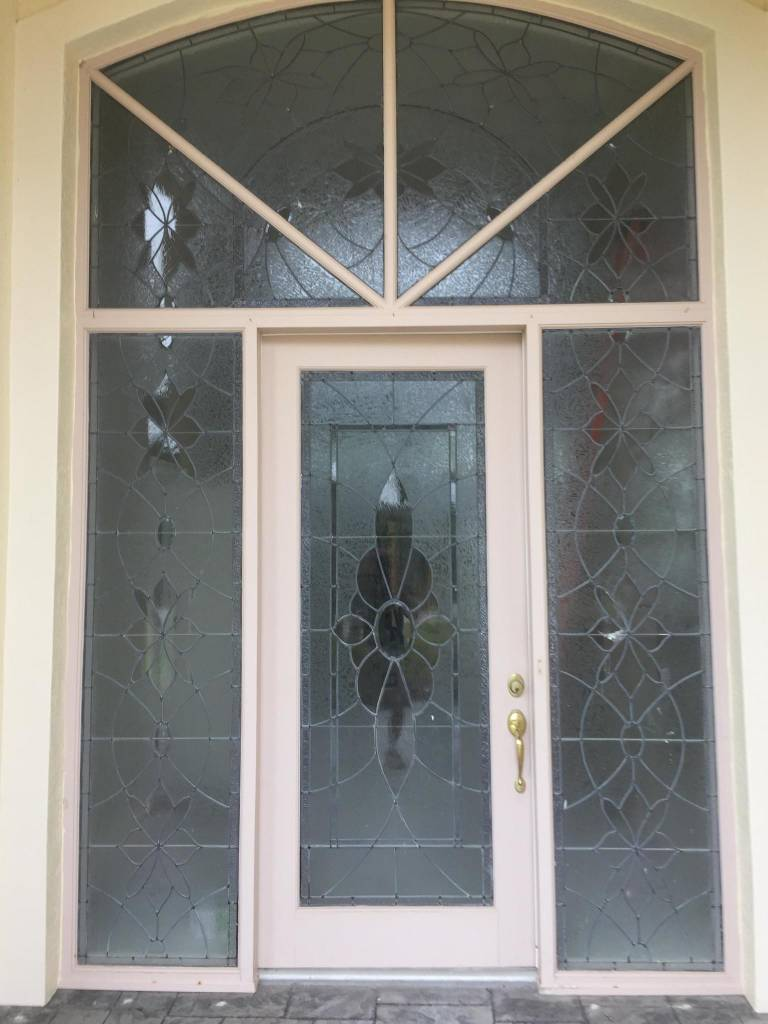 Leaded Glass Door Set Sidelights Transom