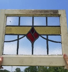 "Salvaged Stained Glass Window 19 3/4"" X 16 3/4"""