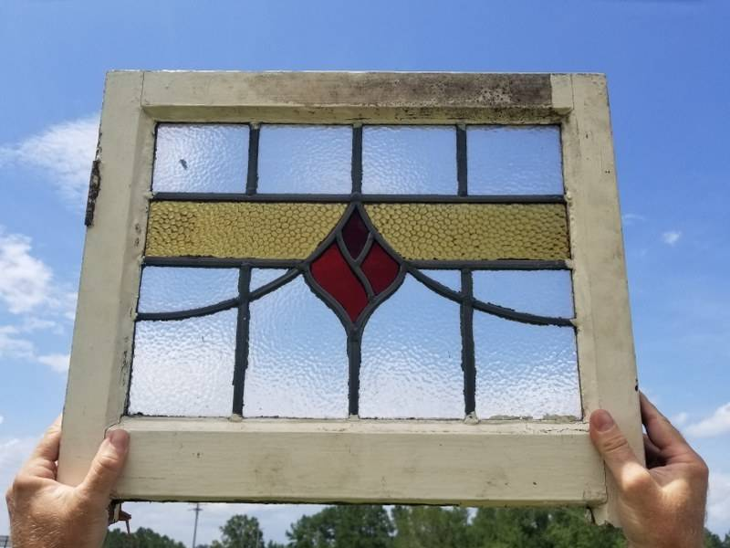 Salvaged Stained Gl Window 19 3 4 X 16