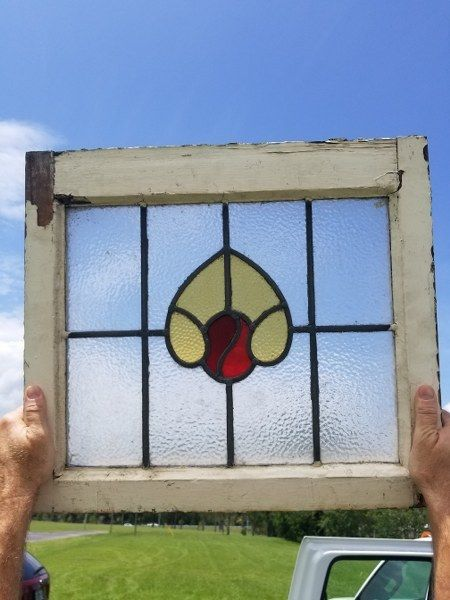 """Salvaged Stained Glass Window 20 1/4"""" X 17 3/4"""""""