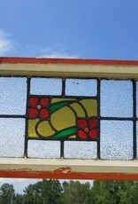 "Salvaged Stained Glass Window 28 1/2"" X 13 1/4"""