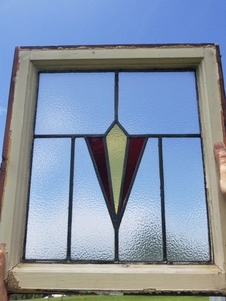 """Salvaged Stained Glass Window 21 1/4"""" X 19"""""""