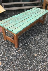 Teal Wash Cypress Bench 18x60x20