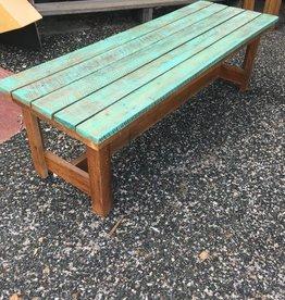 Teal Wash Cypress Bench 18x60x20