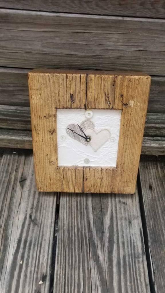Reclaimed Wood Clock W/ Fabric Insert