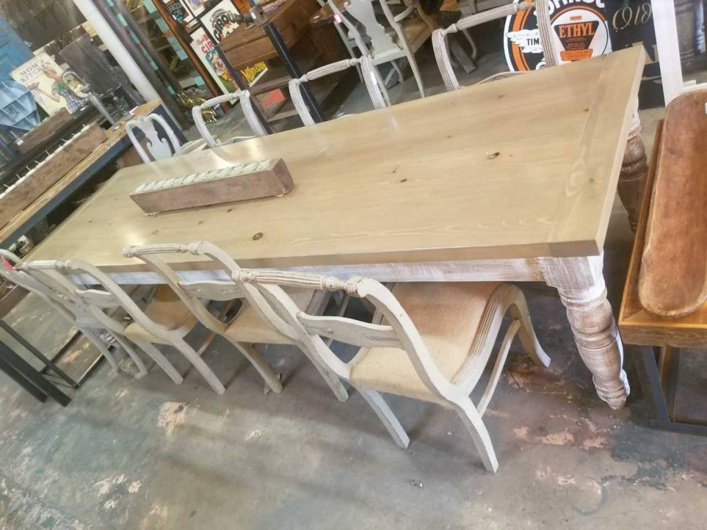 Gray Wash Pine Table 10' X 3'