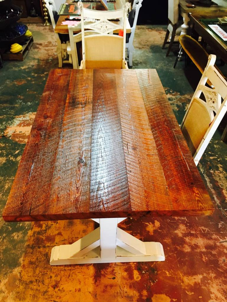 Heart Pine Trestle Base Dining Table 36x60x30