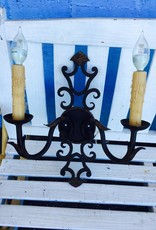 2 Light Small Ornate Iron Wall Sconce