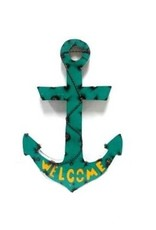 Large Tin Welcome Anchor 24x15.5x1.5