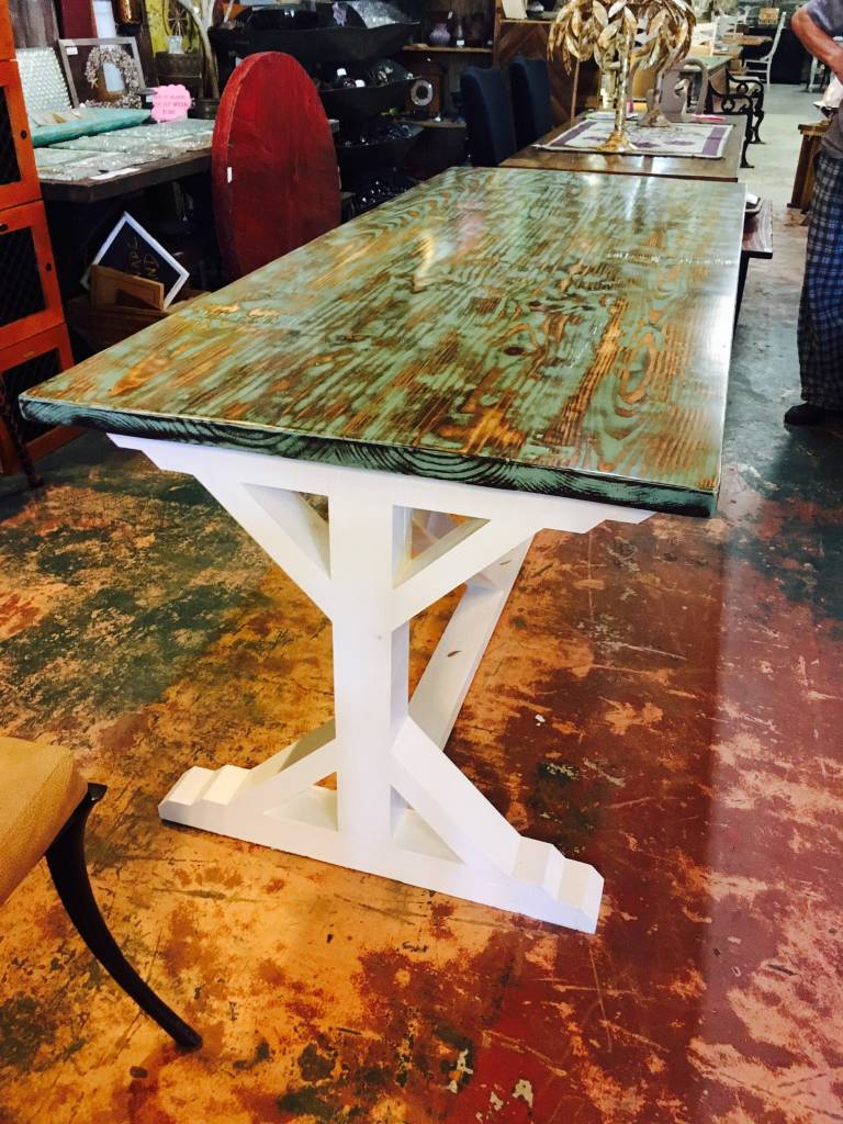 Turquoise Distressed X Trestle Base Dining Table Sarasota - The table sarasota